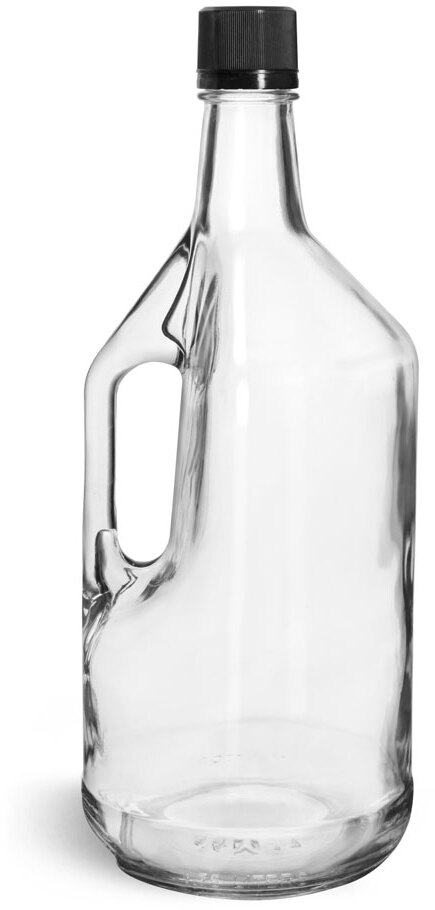 Glass Bottles, Clear Glass Bottles w/ Handles and Black Tamper Evident Closures w/ Pouring Inserts