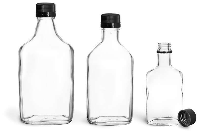 Glass Bottles, Clear Glass Flask Bottles w/ Black Ribbed Tamper Evident Caps