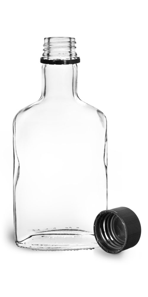 100 ml Glass Bottles, Clear Glass Flask Bottles w/ Black Ribbed Tamper Evident Caps