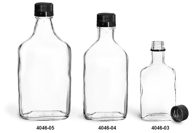 Glass Bottles, Clear Glass Flask Bottles w/ Black Ribbed Tamper Evident Caps