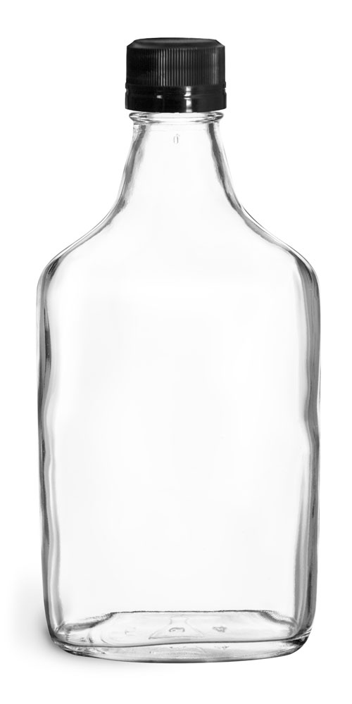 375 ml Glass Bottles, Clear Glass Flask Bottles w/ Black Ribbed Tamper Evident Caps