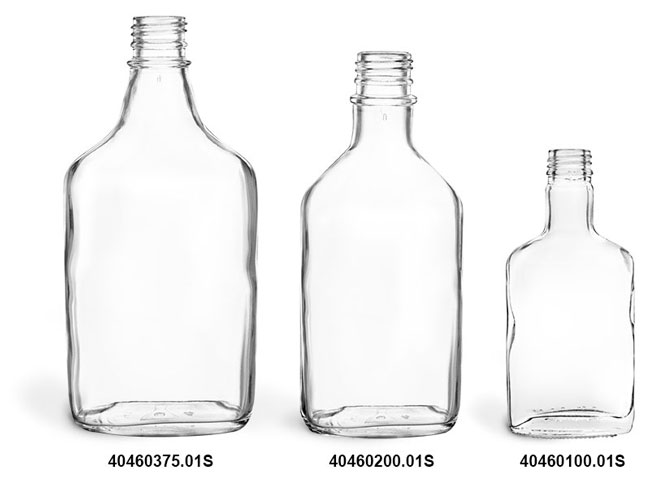 Glass Bottles, Clear Glass Flask Bottles