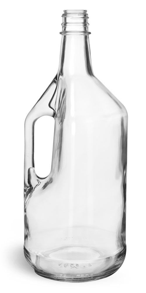 1.75 Liter Glass Bottles, Clear Glass Liquor Bottles w/ Handles