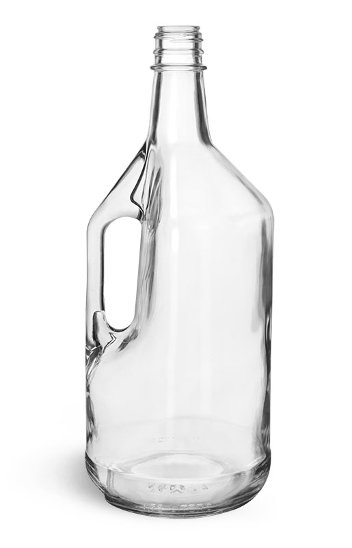 Glass Bottles, Clear Glass Liquor Bottles w/ Handles