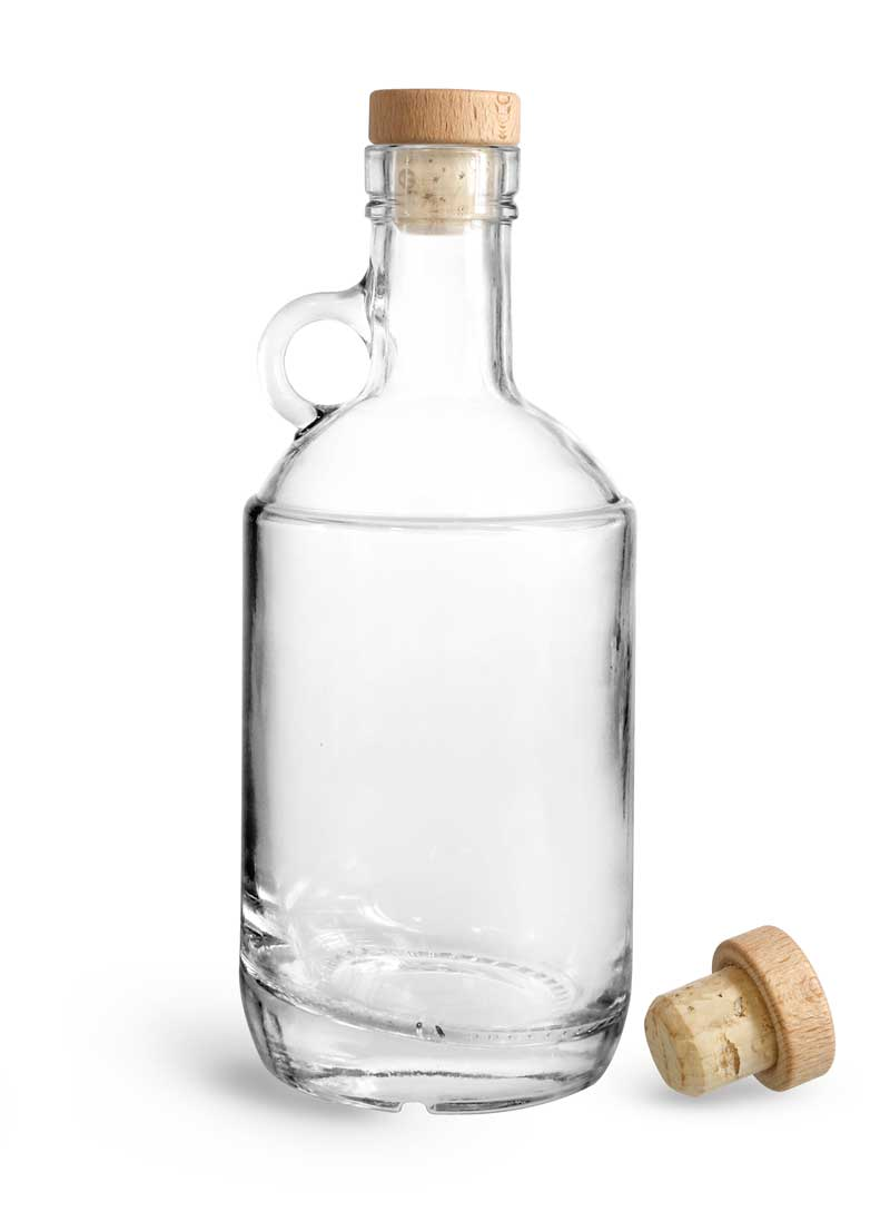 Glass Bottles, Clear Glass Moonshine Bottles w/ Round Wood Bar Tops & Natural Corks