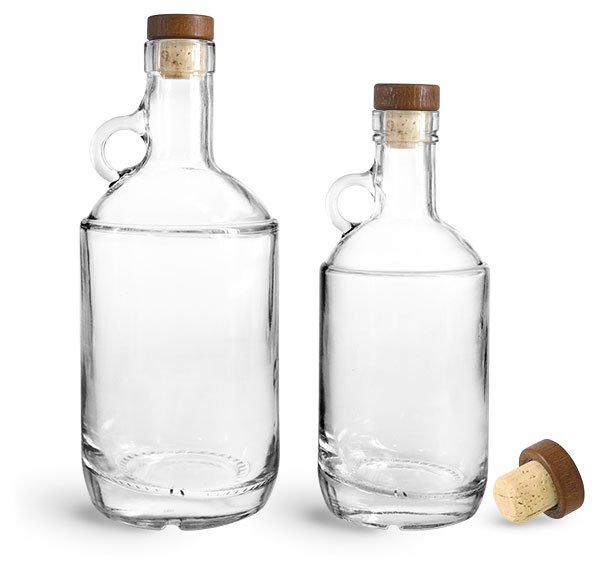 Glass Bottles, Clear Glass Moonshine Bottles w/ Stained Wood Bar Tops & Natural Corks