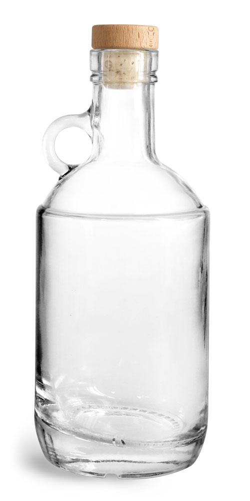 375 ml Glass Bottles, Clear Glass Moonshine Bottles w/ Round Wood Bar Tops & Natural Corks