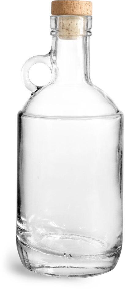 Glass Bottles, Clear Glass Moonshine Bottles w/ Round Wood Bar Tops & Natural Corks
