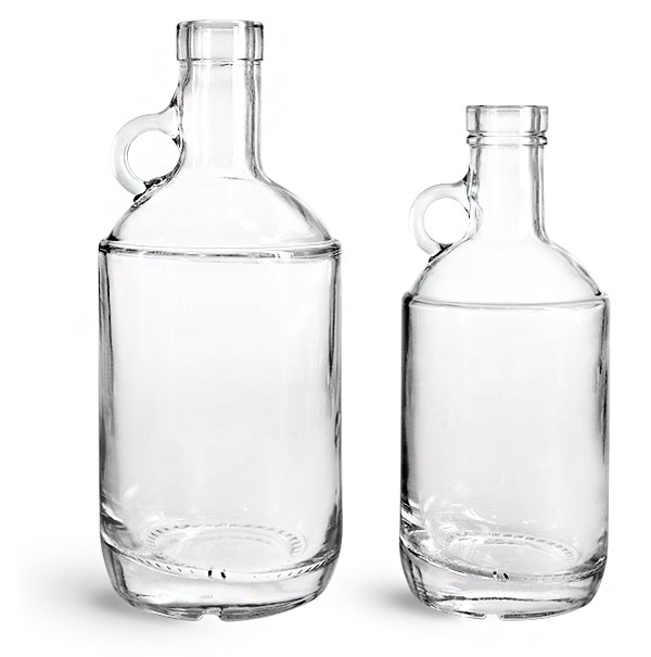 Glass Bottles, Clear Glass Moonshine Bottles (Bulk), Caps NOT Included
