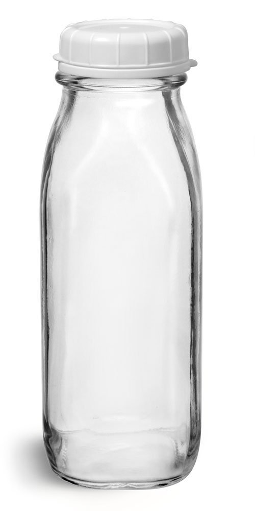 16 oz Glass Bottles, Clear Glass Tall Dairy Bottles with White Tamper Evident Caps