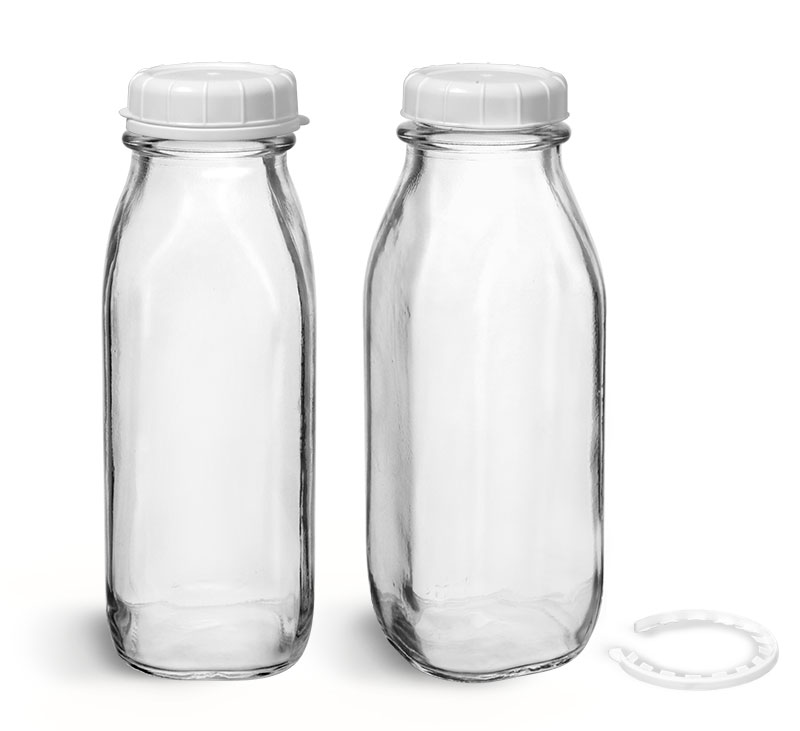 Glass Bottles, Clear Glass Tall Dairy Bottles With White Tamper Evident Caps