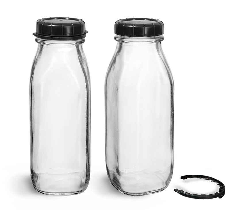 Glass Bottles, Clear Glass Tall Dairy Bottles with Black Tamper Evident Caps