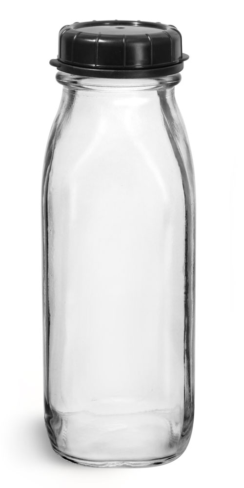 16 oz Glass Bottles, Clear Glass Tall Dairy Bottles with Black Tamper Evident Caps