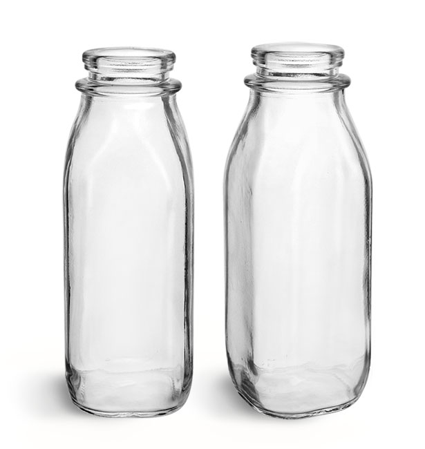 Glass Bottles, Clear Glass Dairy Bottles