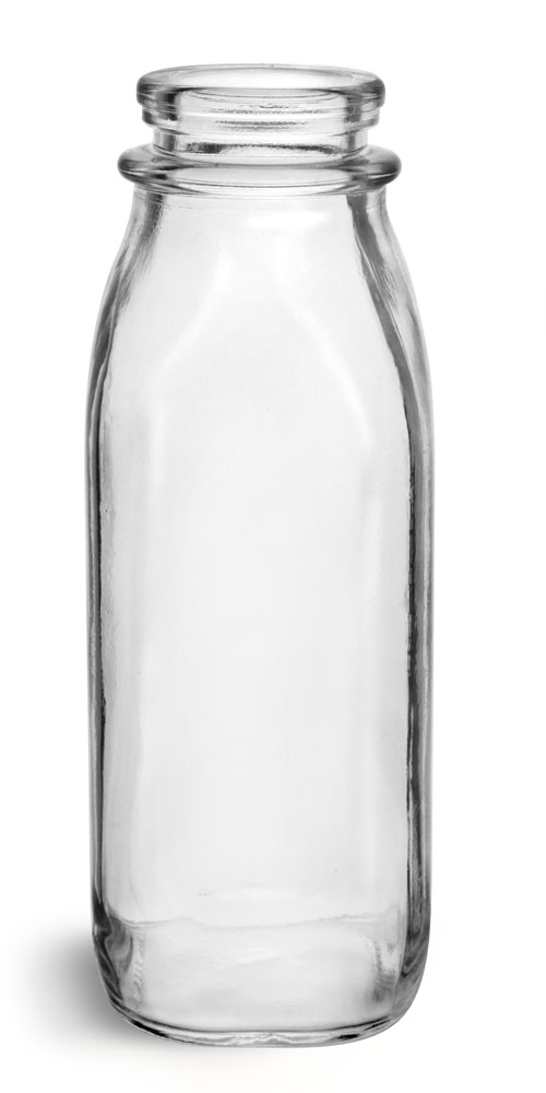 16 oz Glass Bottles, Clear Glass Dairy Bottles