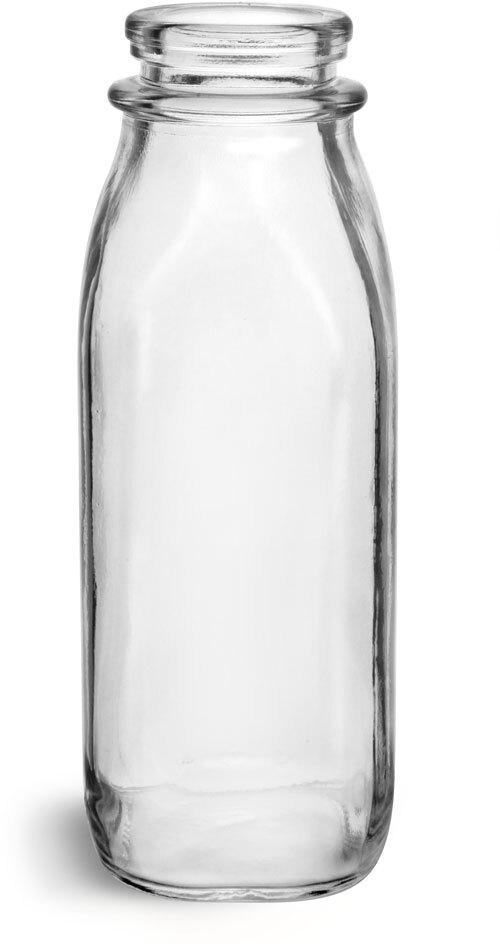 Glass Bottles, Clear Glass Dairy Bottles
