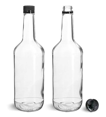 Glass Bottles, Clear Glass Liquor Bottles w/ Black Polypropylene Tamper Evident Caps