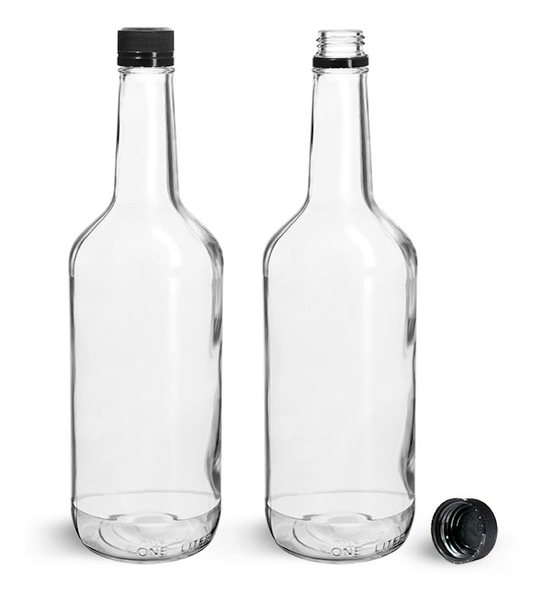 Glass Bottles, Clear Glass Liquor Bottles w/ Black Polypropylene Tamper Evident Caps