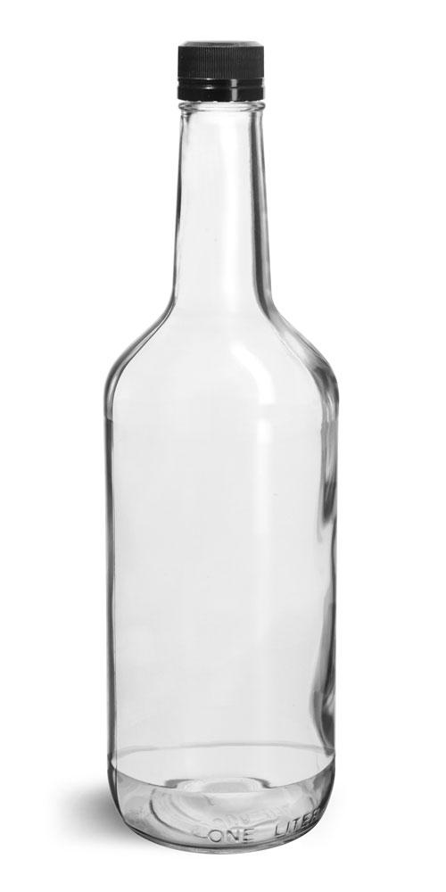1 Liter Glass Bottles, Clear Glass Liquor Bottles w/ Black Polypro Tamper Evident Caps