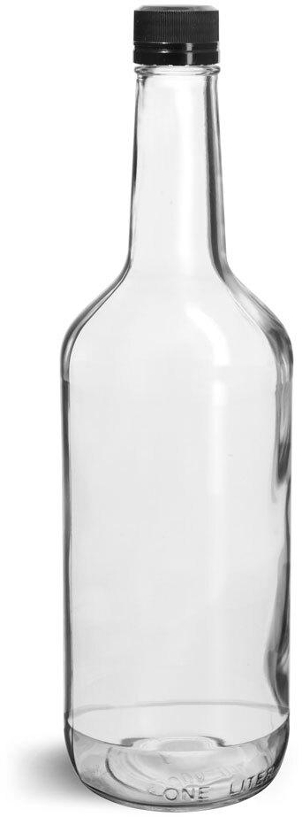Glass Bottles, Clear Glass Liquor Bottles w/ Black Polypro Tamper Evident Caps