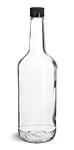 1 Liter1 Liter Glass Bottles, Clear Glass Liquor Bottles w/ Black Polypro Tamper Evident Caps