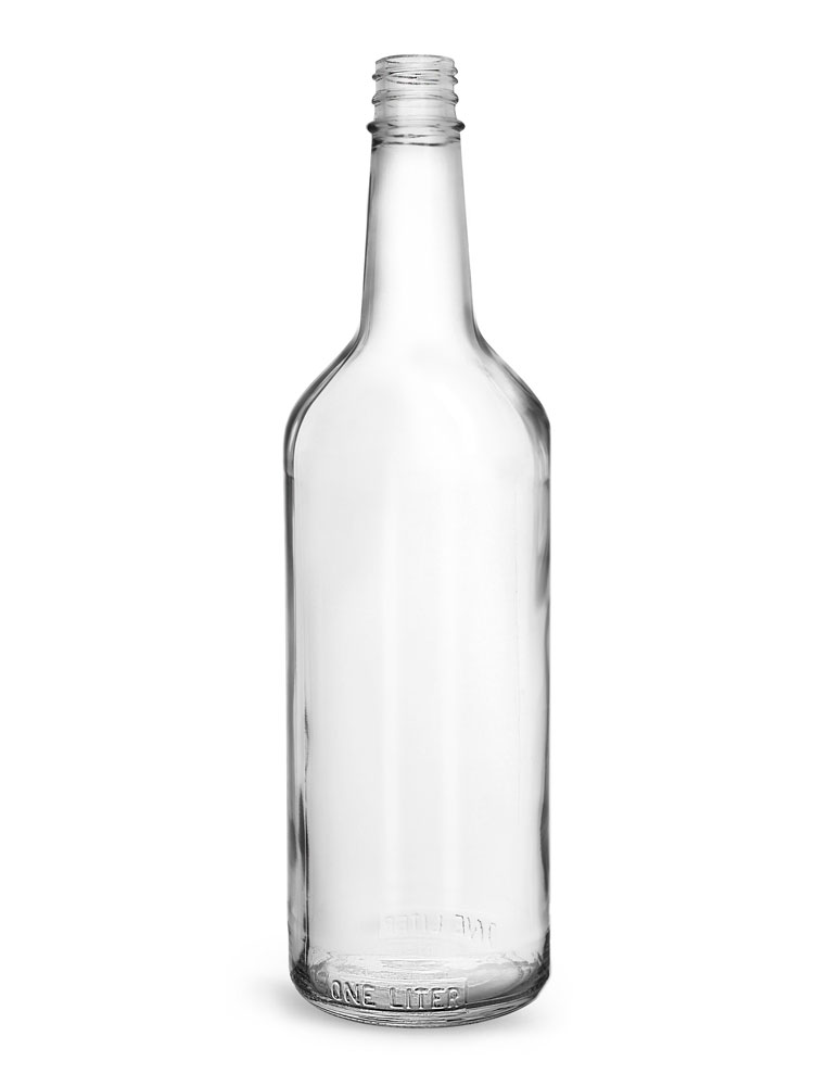 1 Liter Glass Bottles, Clear Glass Liquor Bottles (Bulk), Caps Not Included