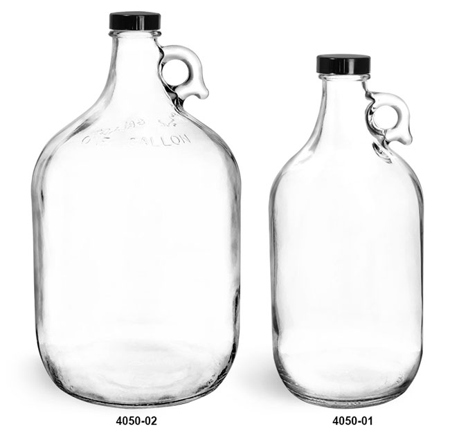 Glass Bottles, Clear Glass Jugs with Black Phenolic Cone Lined Caps