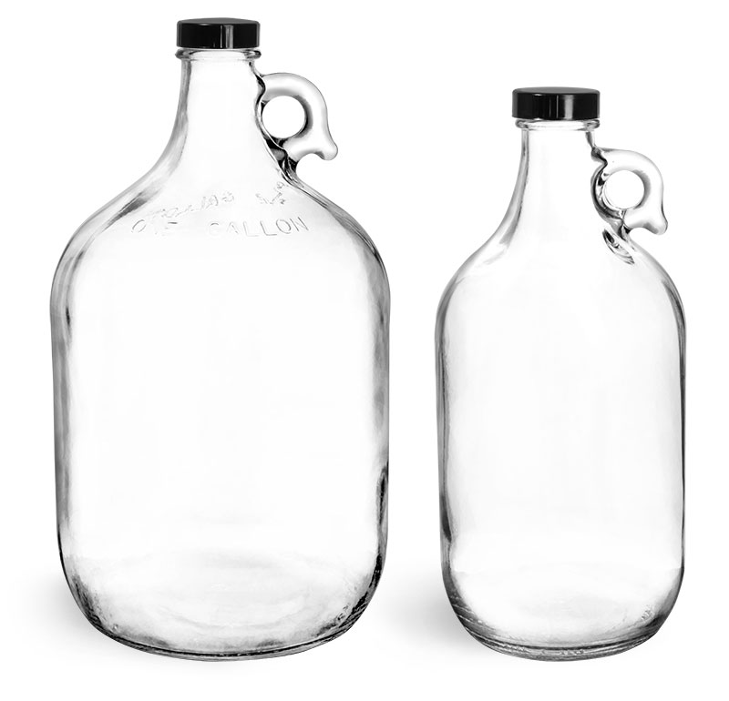 Glass Bottles, Clear Glass Round Jugs w/ Black Phenolic Cone Lined Caps