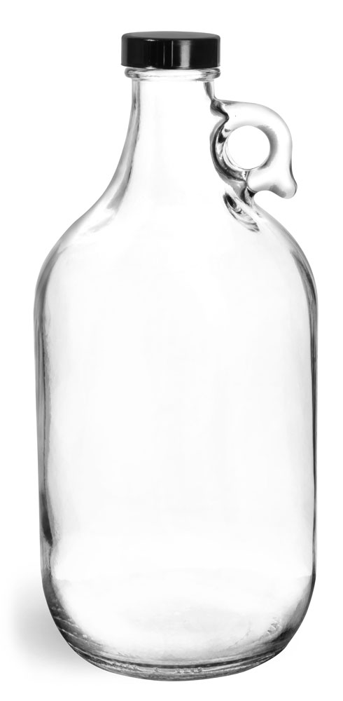 Clear Glass Round Jugs w/ Black Phenolic Cone Lined Caps