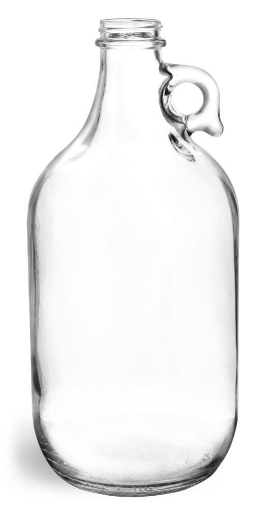 64 oz Clear Glass Round Jugs (Bulk), Caps NOT Included