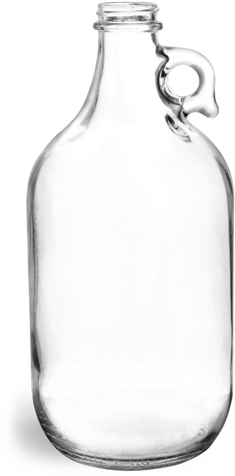 Clear Glass Round Jugs (Bulk), Caps NOT Included