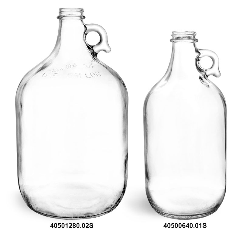 Glass Bottles, Clear Glass Jugs (Bulk)