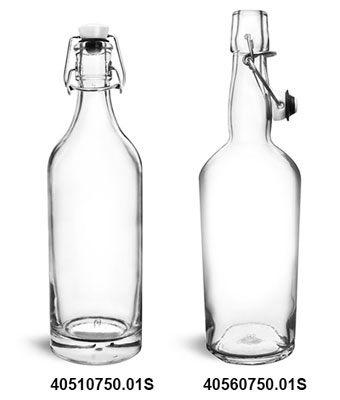 Glass Bottles, 750 ml Clear Glass Swing Top Bottles