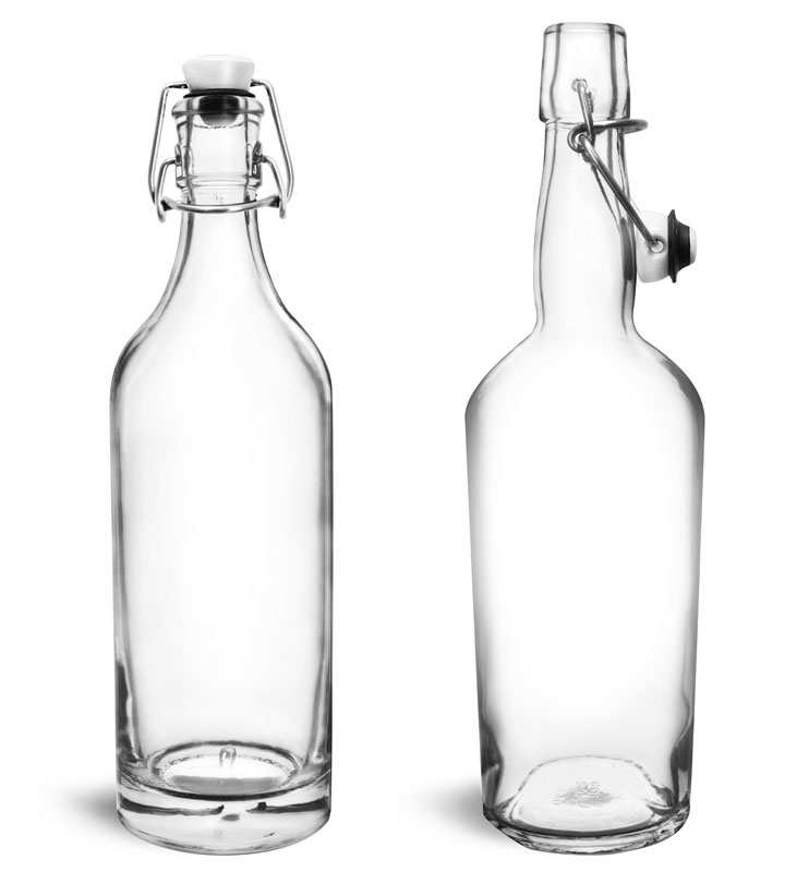 Glass Bottles, Clear Glass Swing Top Bottles
