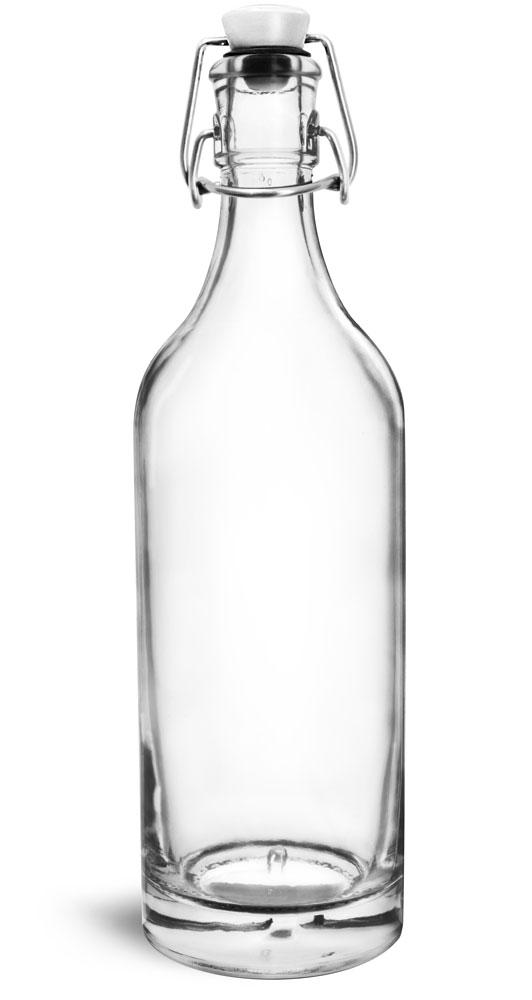 750 ml Glass Bottles, Clear Glass Swing Top Bottles