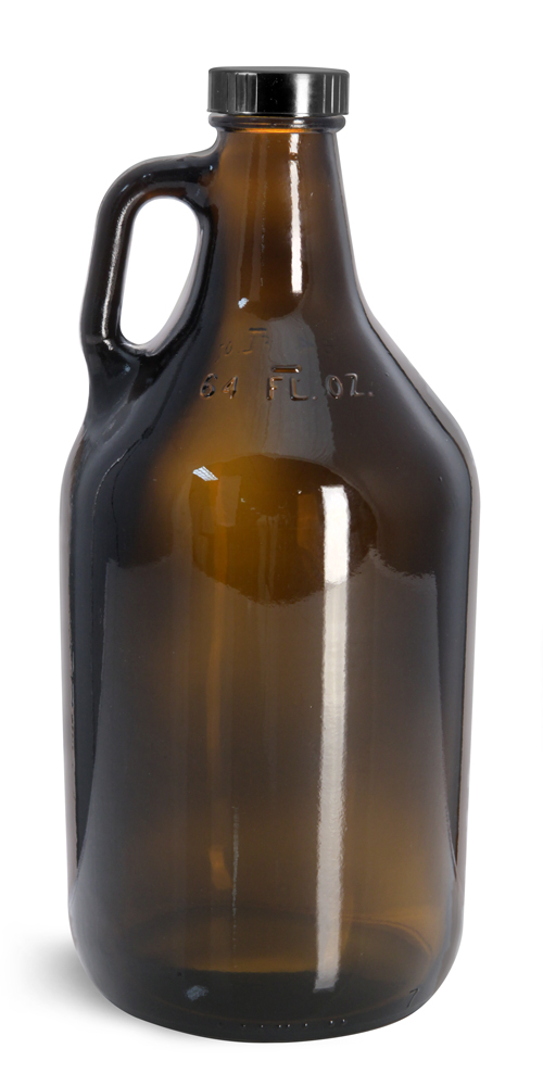 64 oz Glass Bottles, Amber Glass Handle Jugs w/ Black Phenolic Cone Lined Caps