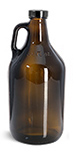 64 oz64 oz Glass Bottles, Amber Glass Handle Jugs w/ Black Phenolic Cone Lined Caps