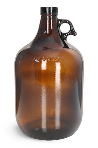 Glass Bottles, 1 Gal Amber Glass Jugs w/ Black Phenolic Cone Lined Caps