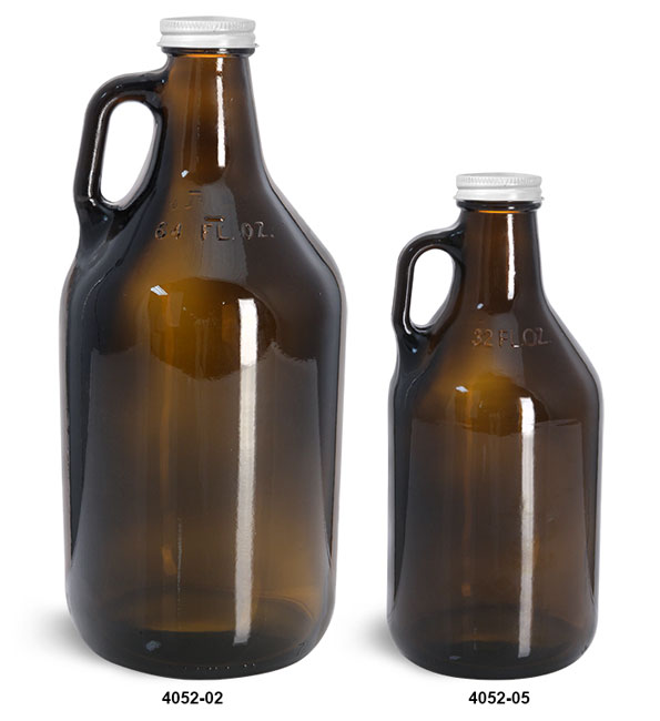 Glass Bottles, Amber Glass Handle Jugs w/ White Metal Lined Caps