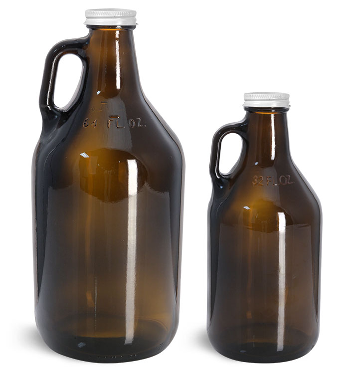 Amber Glass Bottles, Handle Jugs w/ White Metal Lined Caps