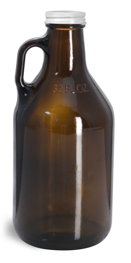 32 oz Amber Glass Handle Jugs w/ White Metal Lined Caps