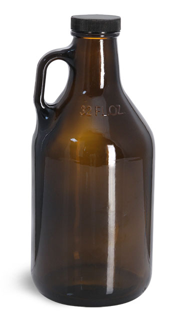 Amber Glass Bottles, Handle Jugs w/ Black Ribbed Lined Caps