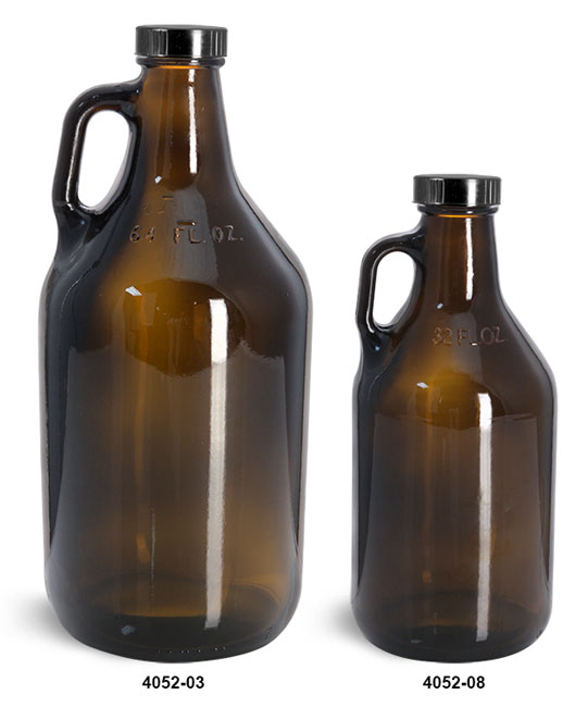 Glass Bottles, Amber Glass Handle Jugs w/ Black Phenolic Cone Lined Caps