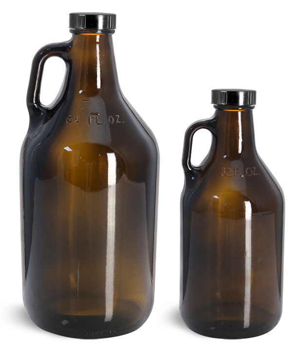 Amber Glass Bottles, Handle Jugs w/ Black Phenolic Cone Lined Caps