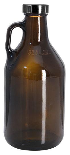 32 oz Amber Glass Handle Jugs w/ Black Phenolic Cone Lined Caps