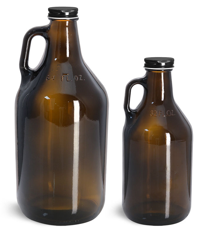 Amber Glass Bottles, Handle Jugs w/ Black Metal Plastisol Lined Caps