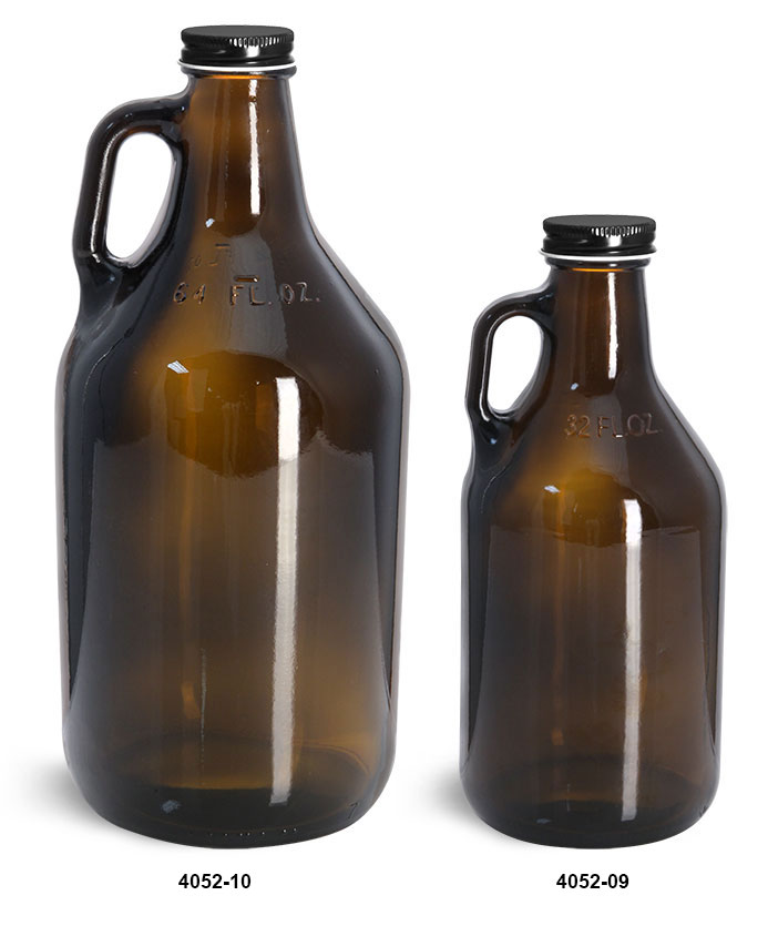 Glass Bottles, Amber Glass Handle Jugs w/ Black Metal Plastisol Lined Caps
