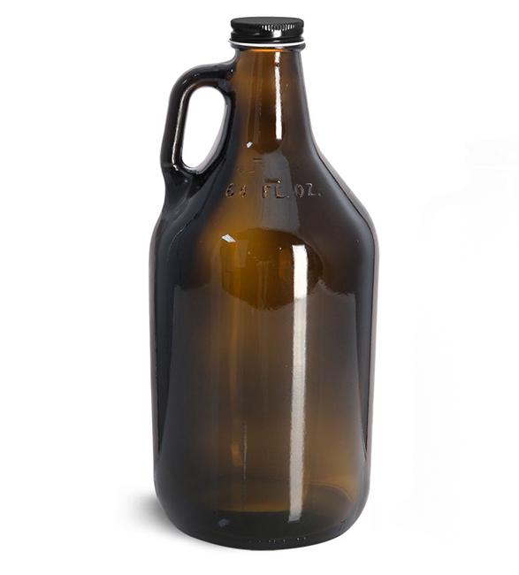 Glass Bottles, Amber Glass Handle Jugs w/ Black Metal Plastisol Lined Caps