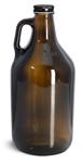 Amber Glass Bottles, Handle Jugs w/ Black Metal Plastisol Lined Caps