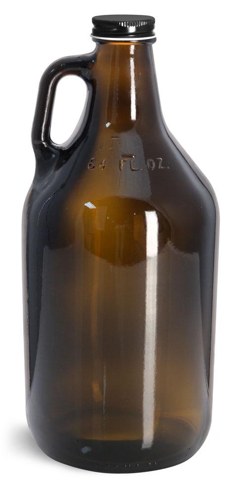 64 oz Glass Bottles, Amber Glass Handle Jugs w/ Black Metal Plastisol Lined Caps
